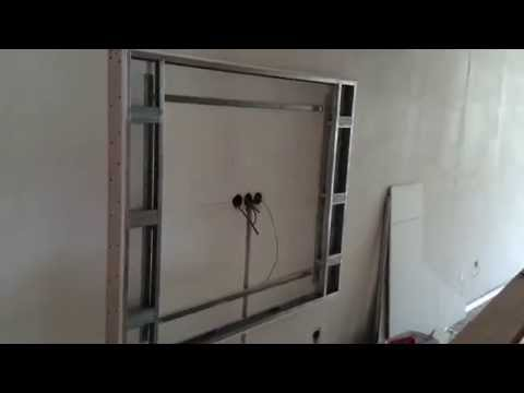 монтаж гипсокартона, дизайн стен, рамка под TV. Plasterboard montaj.
