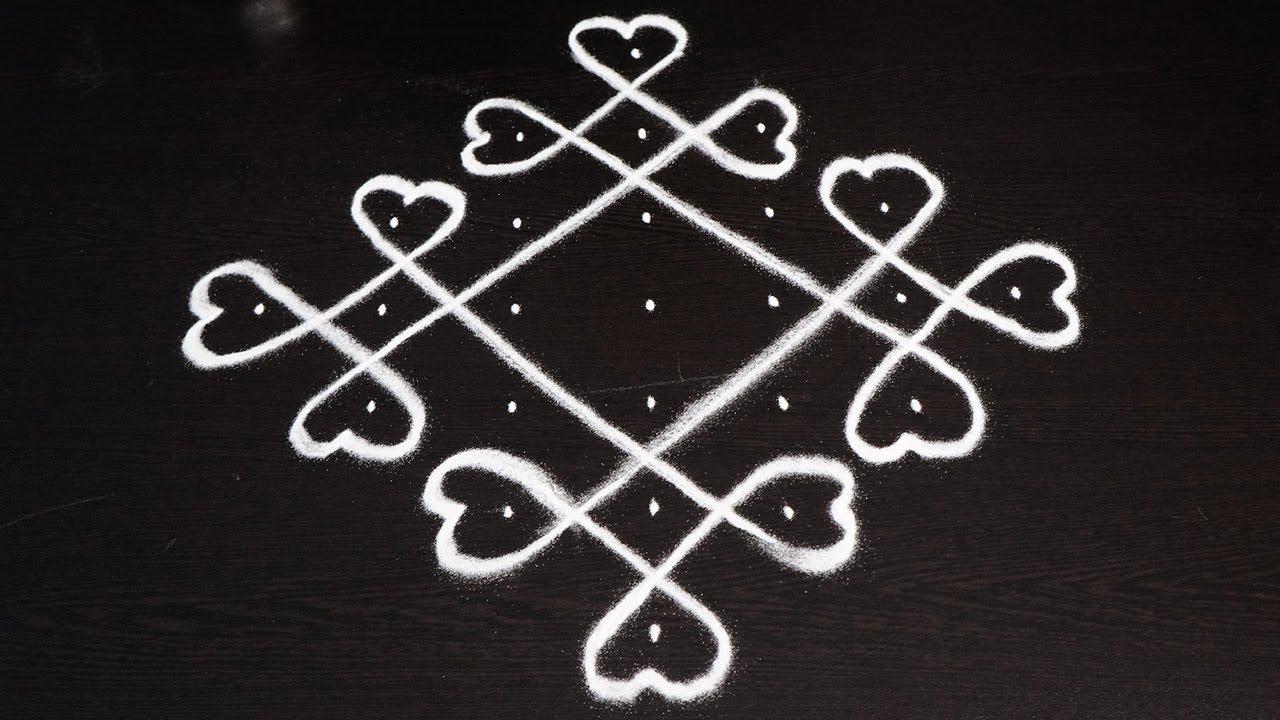 Learn How to Draw Simple Sikky Kolam design - Beginners rangoli design -  Chukkala Muggulu with dots