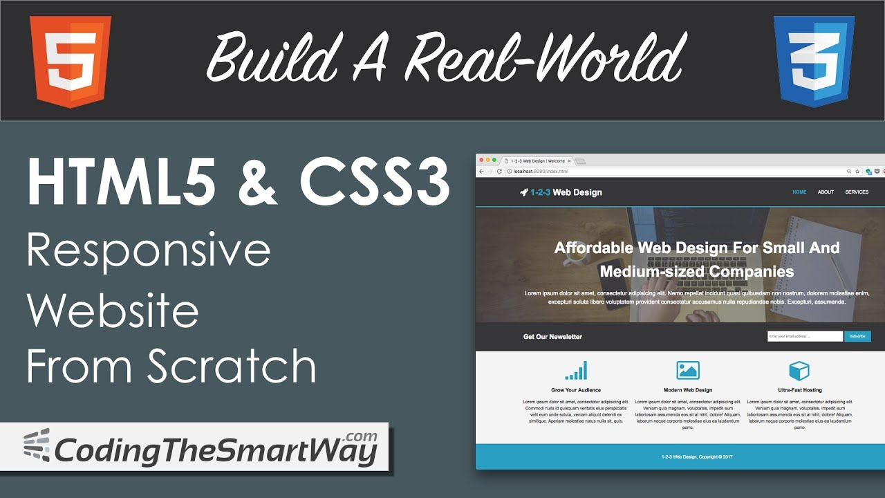 Build a real world html 5 css 3 responsive website from scratch