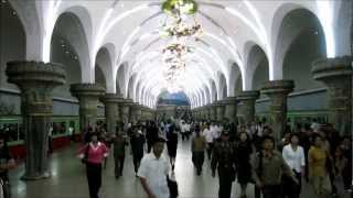 Riding 5 stops on the Pyongyang Metro (North Korea)