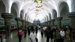 Riding 5 stops on the Pyongyang Metro (North Korea)