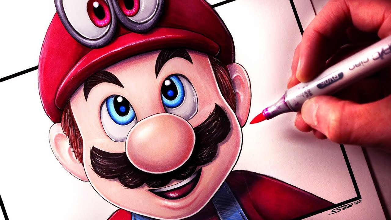 how to draw mario from super mario odyssey