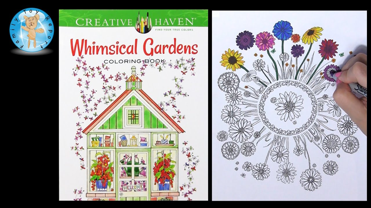 Creative haven whimsical gardens by alexandra cowell adult coloring book review family toy report youtube