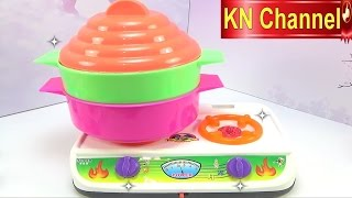 Đồ chơi trẻ em Bé Na nấu ăn làm bếp với trò chơi nồi 2 tầng Cooking seafood & vegetables Kids toys