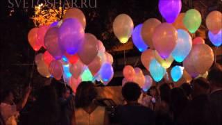 Светодиодные шары , запуск светящихся шаров на свадьбе 12.07.2013г.