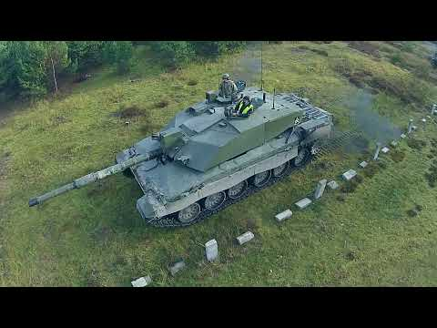 Drone Fly-by - British Challenger 2 Tank