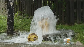 Broken Fire Hydrant Creates Geyser, Spews Water Into Air Over West Elizabeth