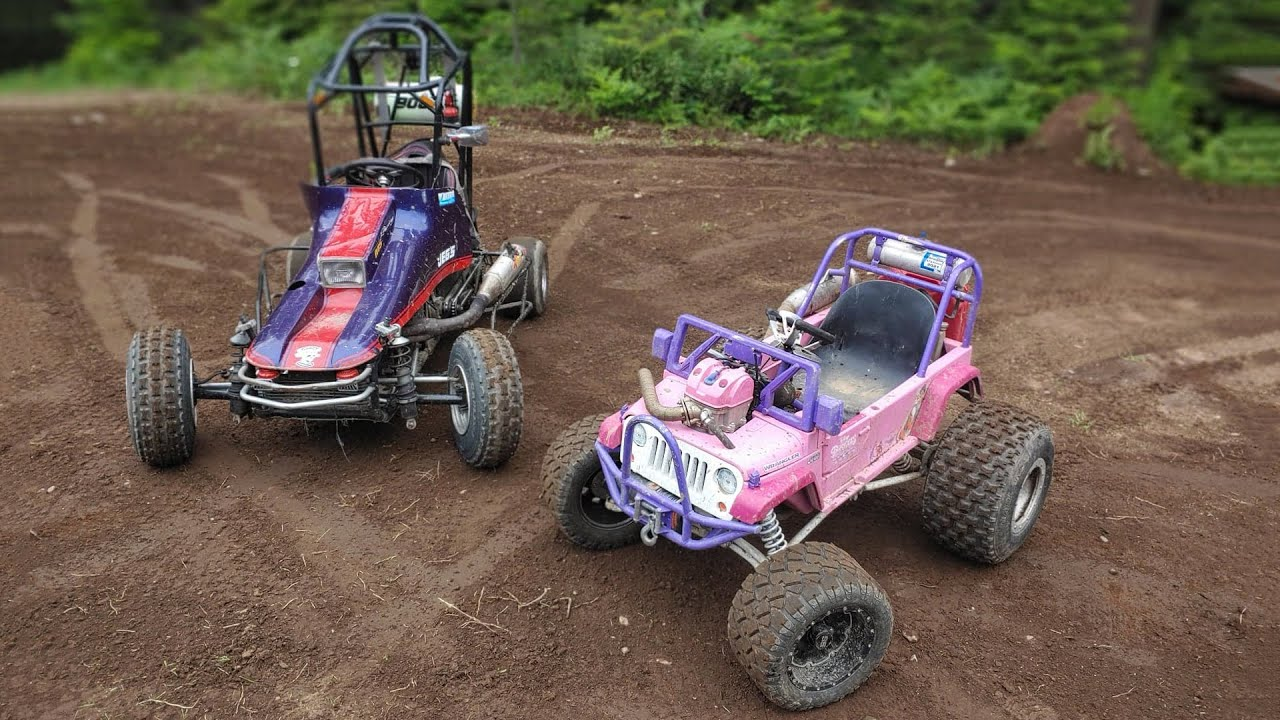 Crazy Fast Barbie Jeep Races Sprint Car!