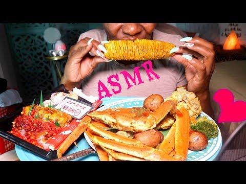 🍣  Sushi ASMR Eating Seafood Boil Lip Smacking 👅 Mukbang🌶
