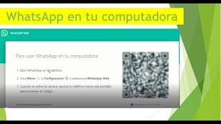 Cómo usar whatsapp web en la computadora 2020