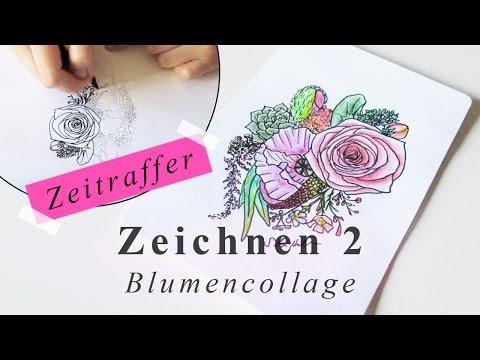 Blumen zeichnen Zeitraffer // Gestaltung von Frühlingsblumen Grußkarte DIY
