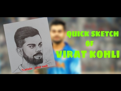 A quick pencil sketch of virat kohli 6th double century maker
