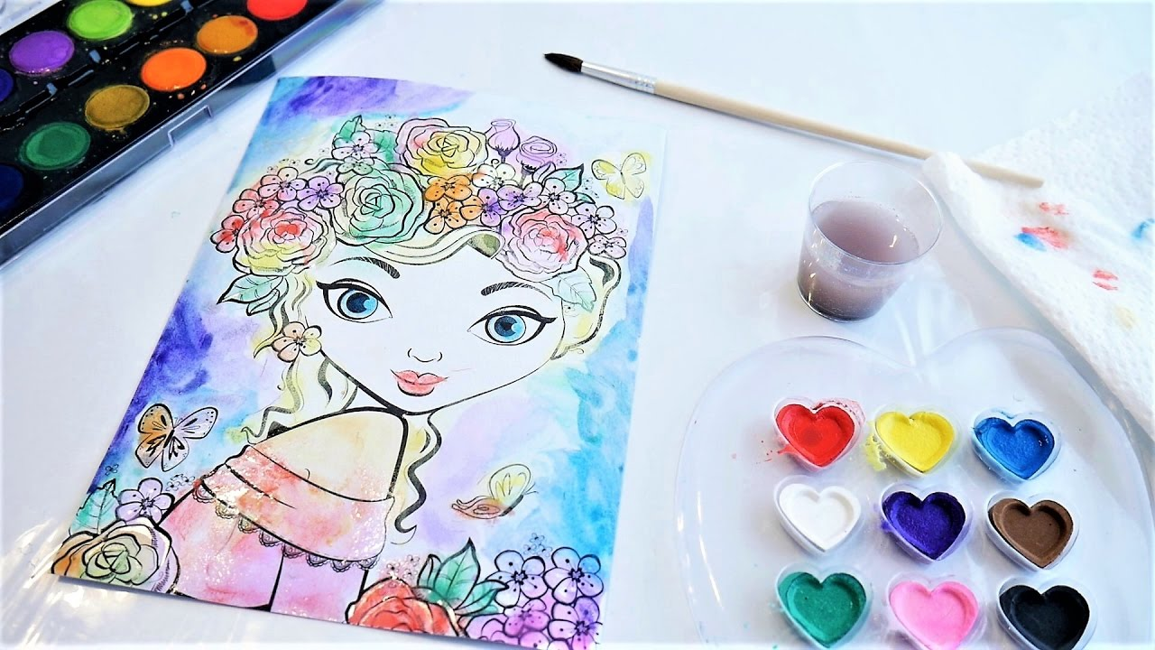 Beautiful Easy Water Color Painting Sketch From Fashion Angels