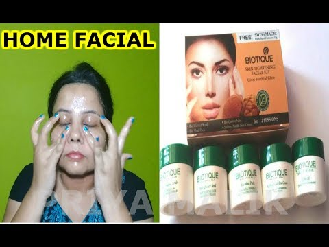 HOW TO DO FACIAL AT HOME FOR FAIR,GLOWING,SPOTLESS SKIN   BIOTIQUE FACIAL KIT (HOW TO USE& REVIEW)