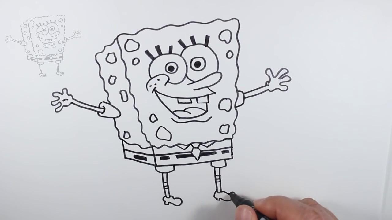 تعليم الرسم للاطفال كيف ترسم سبونج بوب خطوة بخطوة للمبتدئين Youtube