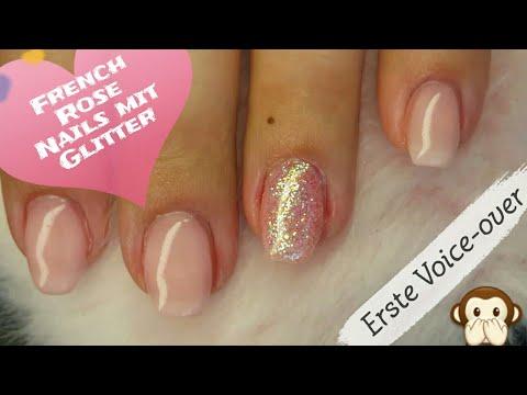Einfache French Rose Nails mit Glitter 💅 Semilac und Striplac Kombi * Erste Voice-over 🙊