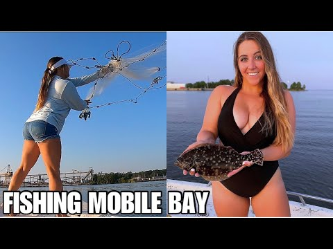 GIRL Throws Cast Net For BAIT, Getting Spooled By Something BIG | MOBILE, AL INSHORE FISHING