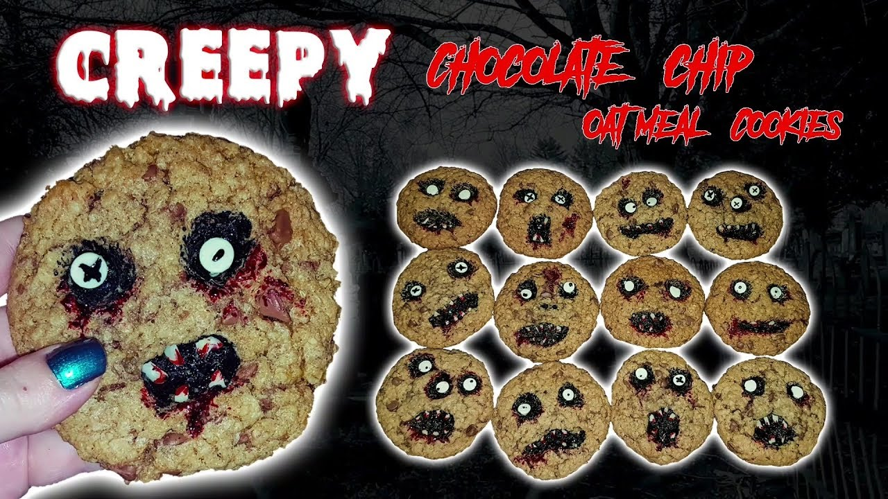 chewy chocolate chip oatmeal halloween cookies - youtube