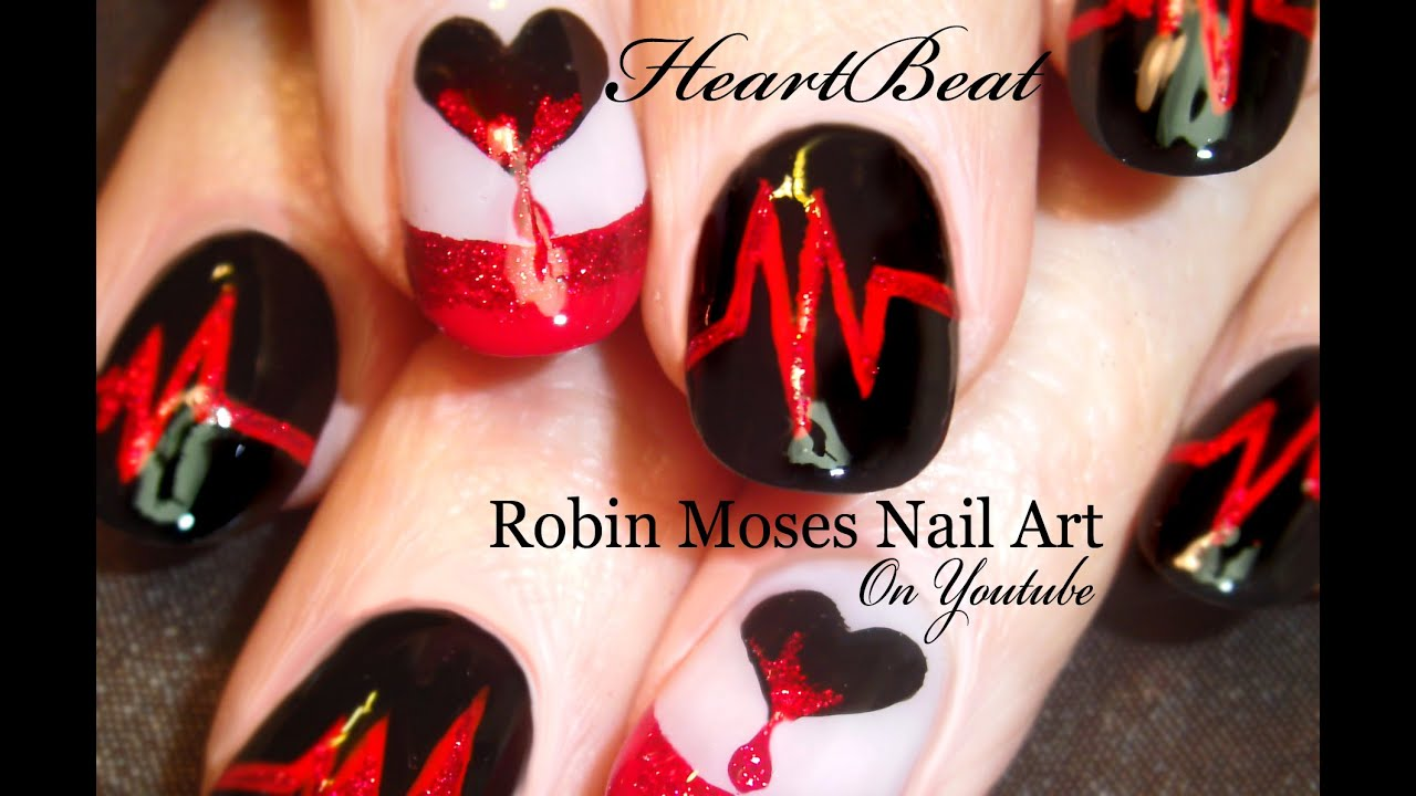Valentine Nails Dripping Hearts Nail Art Design Tutorial Youtube