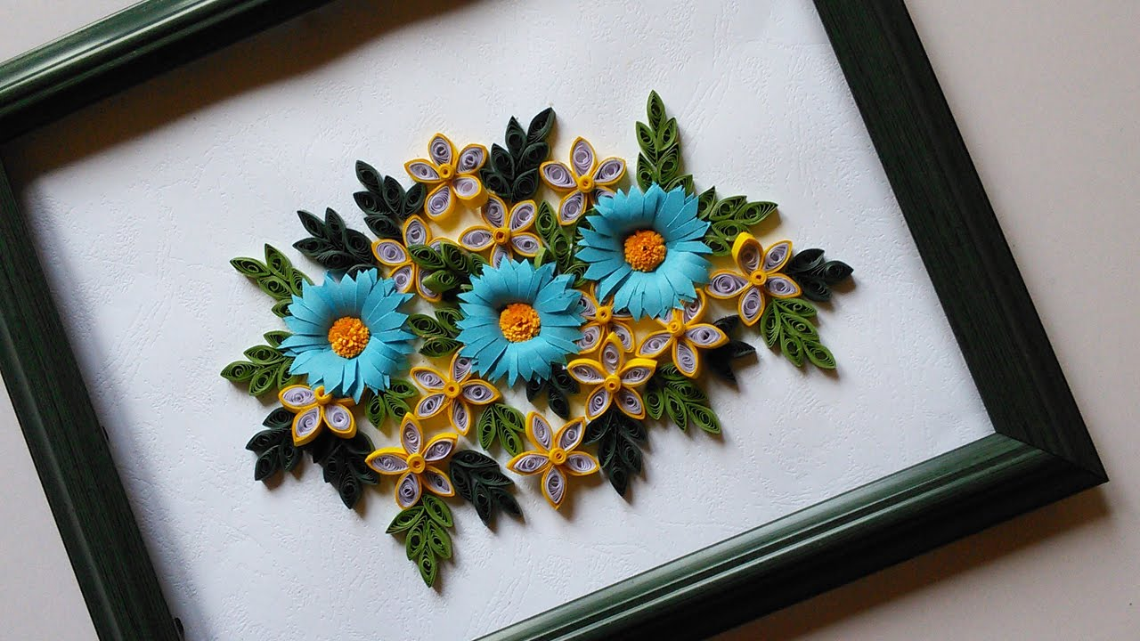 Paper quilling designs wall frames flowers diy Wall art paper designs