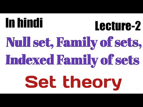 Null set, Family of sets, Indexed Family of sets||Set theory|| topology for msc mathematics