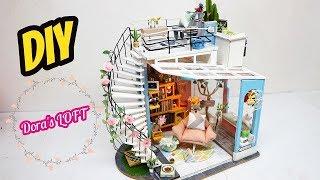 NHÀ BÚP BÊ TÍ HON 2 TẦNG - DIY miniature dollhouse Dora's loft - Lắp ráp nhà mô hình thu nhỏ