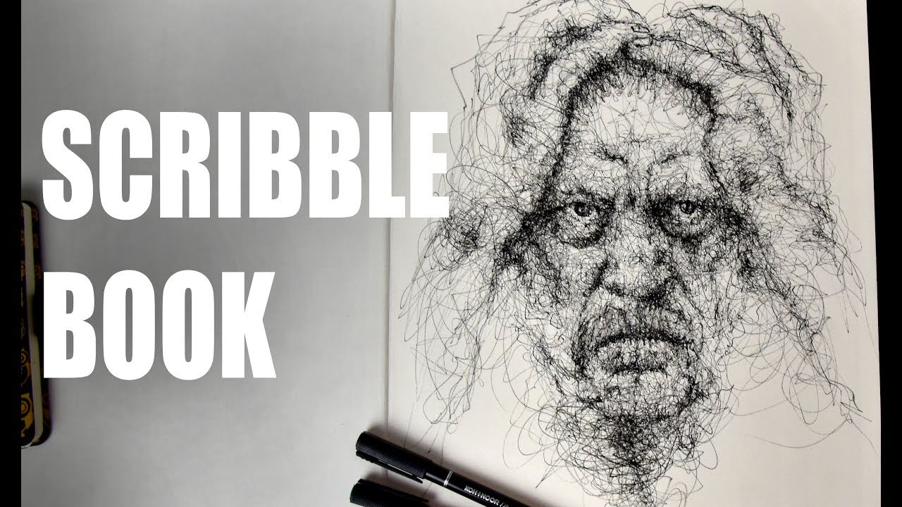 Scribbles Drawing Book : Scribble book face portrait youtube