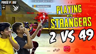 FreeFire Rank Match || Playing With Strangers Duo Vs Squad ||Best M1014 in 2 Vs 49 || Live Reaction