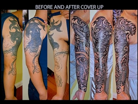 Cover Up Tattoo With Koifish Full Sleeve Youtube