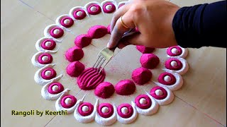 Simple rangoli design using fork & 2 colours l Rangoli by Keerthi l Satisfying videos l साधी रांगोळी