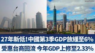 27年新低!中國第3季GDP放緩至6%|受惠台商回流 今年GDP上修至2.33%|產業勁報【2019年10月18日】|新唐人亞太電視