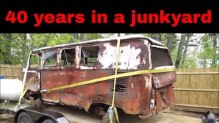 Will it Run? rotten old vw bus sitting 40 years in a junkyard.