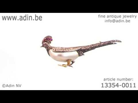 Antique French Victorian bird brooch pheasant rubies rose cut diamonds. (Adin reference: 13354-0011)