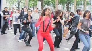 Michael Jackson Flashmob Tribute Leicester Square- Thriller- Bad- Part 1
