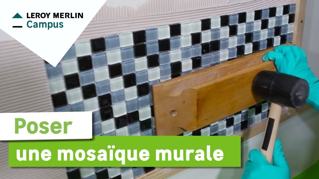 Comment poser une mosa que murale leroy merlin youtube for Plaque de carrelage adhesif