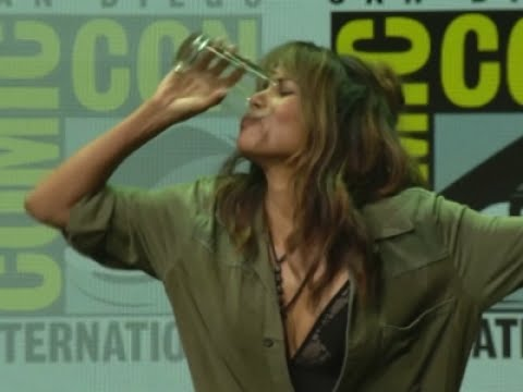 Halle Berry downs a half pint of whiskey