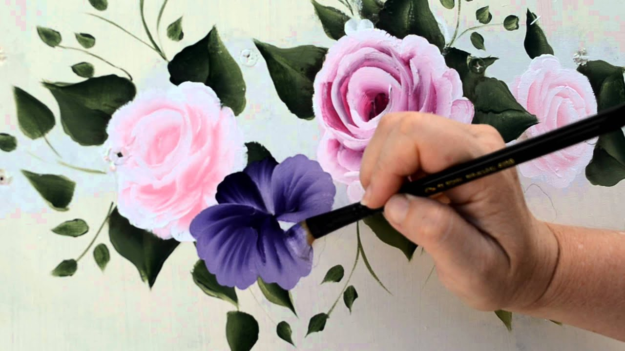 paint a purple pansy youtube. Black Bedroom Furniture Sets. Home Design Ideas