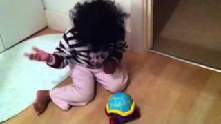 Namrah potty training her turtle toy :)