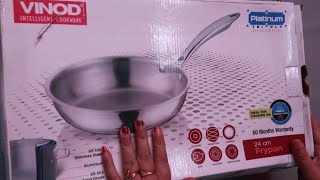 Vinod cookware frying pan review with simple arbi fry stainless steel cookware unboxing and review