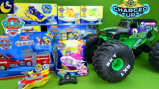 Download LOTS of Paw Patrol Mighty Pups Charged Up Toys & Monster Jam Mega Grave Digger RC Monster Trucks Toy Mp3 and Videos