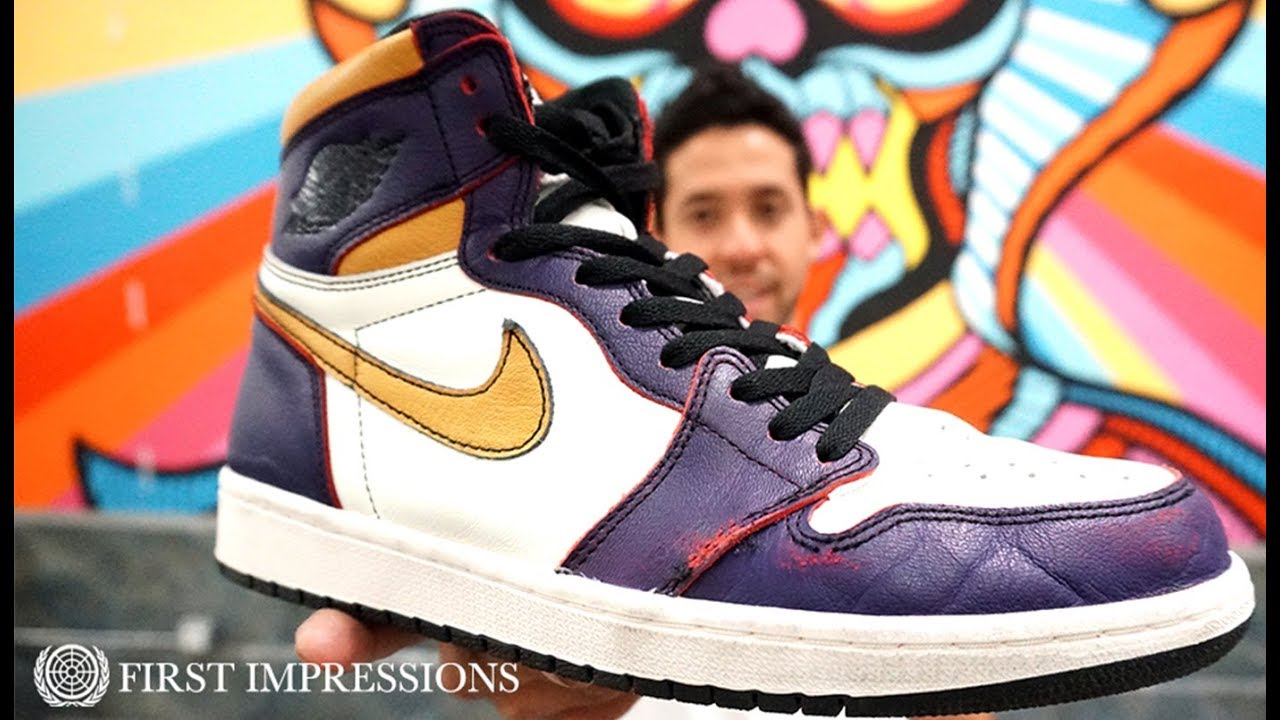 ca0d74c5228 See How The Nike SB x Air Jordan 1 'LA To Chicago' Shoes Skate | First  Impressions
