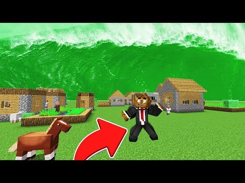 ESCAPE FROM 100FT SLIME TSUNAMI WAVE in Minecraft!