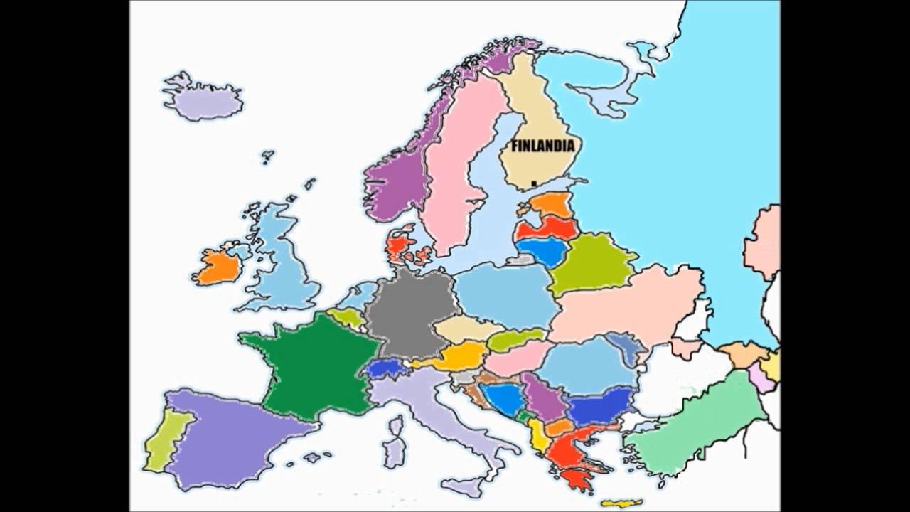 Mapa De Países: Los Paises De Europa Para Niños.Continenten Europeo