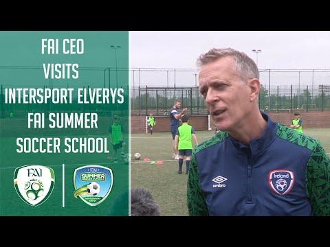 FAI CEO Jonathan Hill visits INTERSPORT Elverys FAI Summer Soccer Schools Camp
