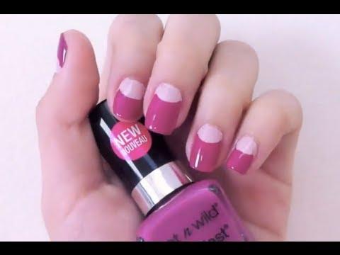 DIY half-moon nail design - Natalie's Creations - YouTube