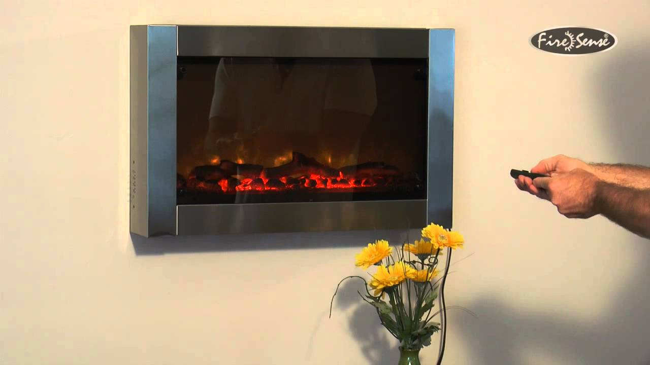 Stainless Steel Wall Mounted Electric Fireplace Item 60758 - YouTube