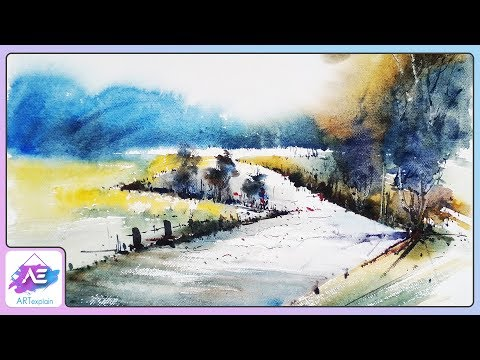 Watercolor Landscape  road Painting Tutorial | How to paint a watercolor landscape | Art Explain
