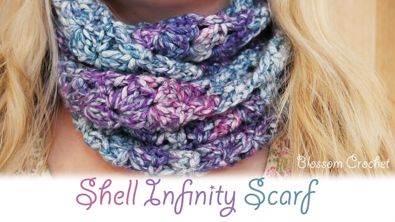 Super Easy Crochet My Shell Infinity Scarf Youtube