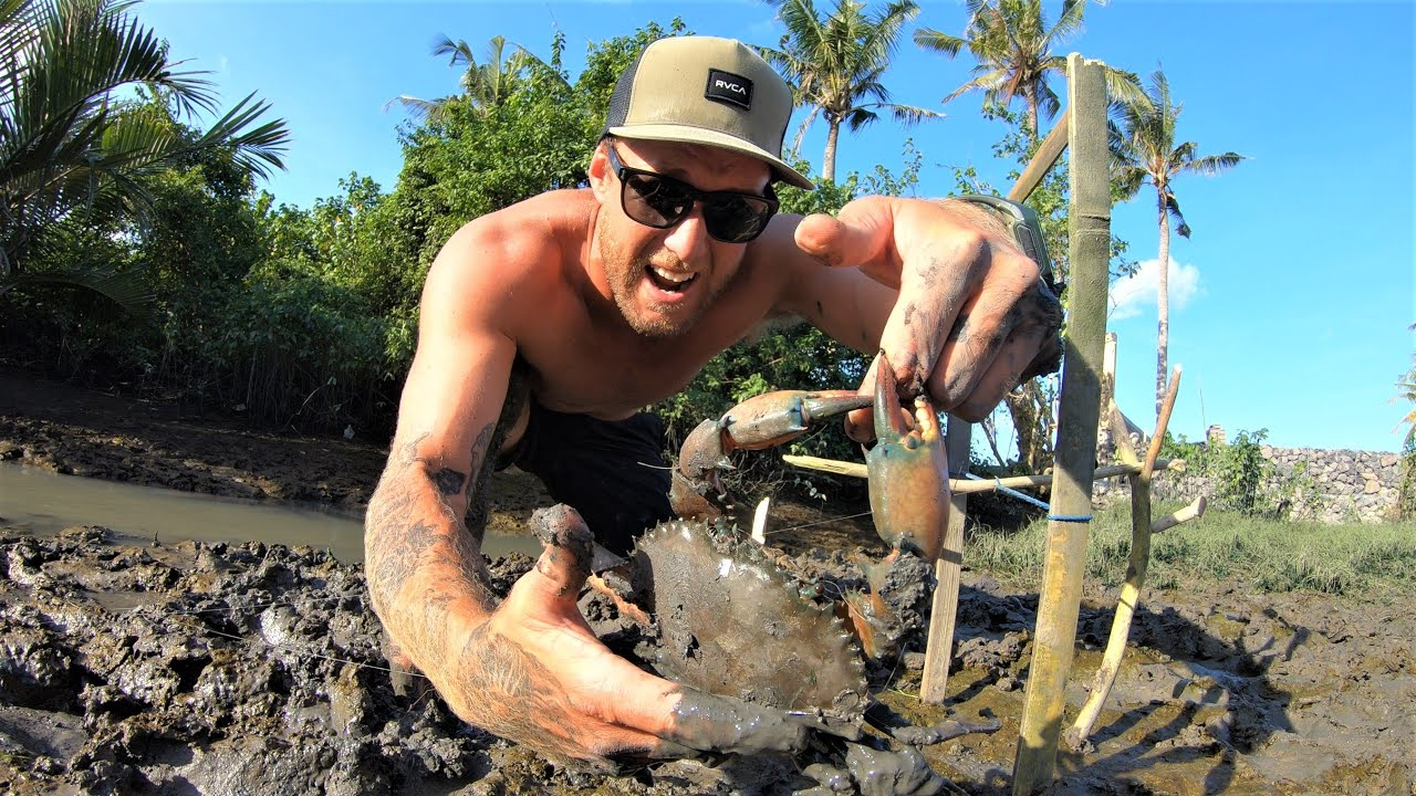 solo survival -I NEARLY LOST MY FINGER- making a survival fish trap. MUD CRAB ATTACK.. Ep 25