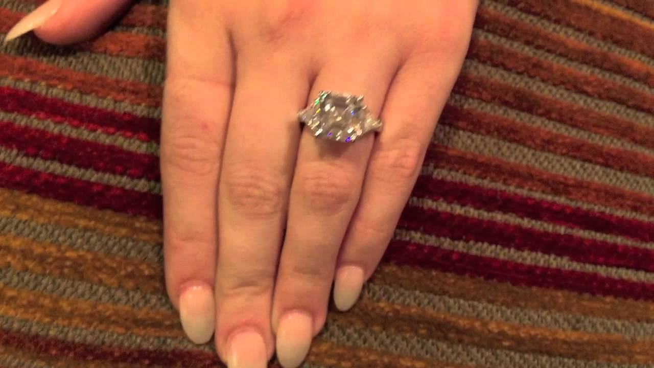 5 Carat Asscher And Trillion 3 Stone Cz Ring 455 Youtube